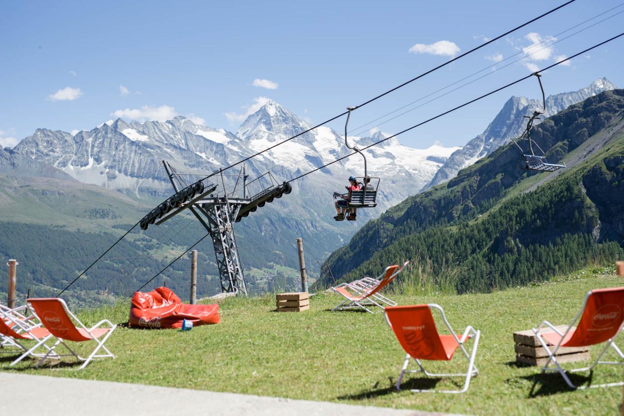 Espace Dent-Blanche - Télésiège Lannaz-Chemeuille en été