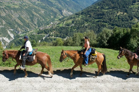Horse riding through the mountain pastures- Val d'Hérens - Nax-40510